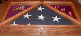 Oak flag case and shadow box combination