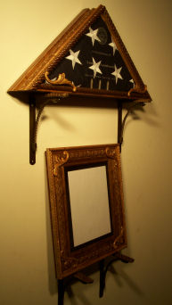 Style: Western - Flag display case with matching frame