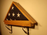 Military flag case in oak